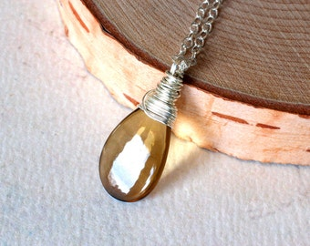 "Whiskey Quartz Necklace, Beer Quartz Necklace on Oxidized Sterling Silver - ""Speyside"""