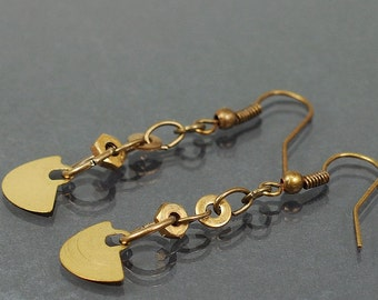 Steampunk Earrings- Upcycled Brass Clock Part Industrial Earrings, Steampunk Jewelry, Industrial Jewelry, Hardware Jewelry by Tanith Rohe