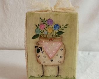 Primitive Sheep Shelf Sitter, Folk Art