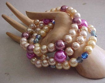 Pearls~MIX & MATCH STRETCH Bracelets~3 Bracelets~Glass Pearls n' Beads~Pretty Colors~Wear 1, 2, or All 3 At Once~Style~Fashion