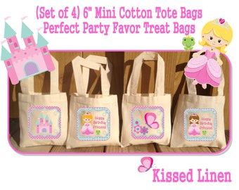 Pretty Princess Birthday Treat Favor Bags Mini Cotton Totes Children Kids Guests Princess Party Favor Treat Gift Bags - Set of 4