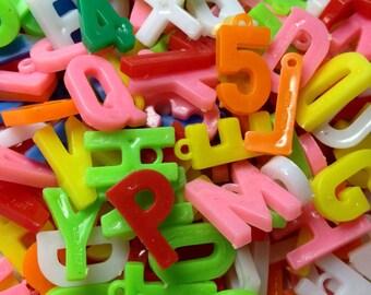 12pcs TINY LETTER CHARMS Vintage Plastic Goodness
