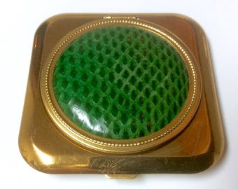 Vintage Powder Compact Green Leather Textured Top Made in USA Unused