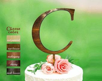 C Letter Cake Topper, initial cake topper, monogram cake topper wedding, cake toppers single letters natural wood,  Letter c topper, CT#077