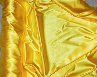 "Stretch Satin Yellow fabric 52"" wide...bridal, lingerie , home decor, pajama's, sleep wear, formal wear"