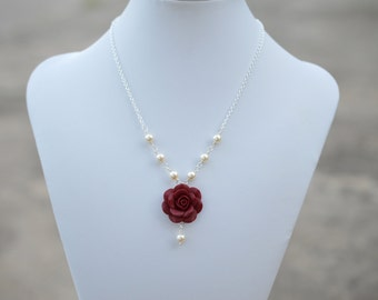 Deep Red Rose and Pearls Centered Necklace, Red Garnet Rose Necklace, Deep Red Flower necklace, Red Rose Jewelry , Red Wedding Necklace