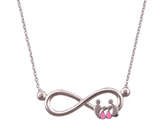 sterling silver 925 necklace, infinity sign, family teardrops