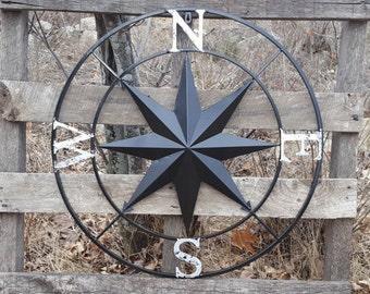Compass Rose, Large Metal Wall Art, Nautical Wall Art, Nautical Wall Compass, Metal Nautical Compass, Nautical Decor, Metal Wall Decor