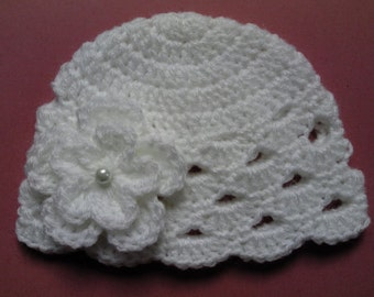Crochet Baby Kids Toddler Hat Beanie children gift girl white flower