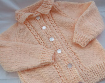 Peach Blossom Collared Cardigan Sweater/Size 2/Hand Knit/Birthday Gift