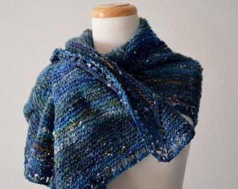 Angular Blues Hand Knit Handspun Shawl in Merino Wool, Farm Wool, Textured Silk, Linen Multipoint Handknit Original Shawl Boho Blanket Scarf