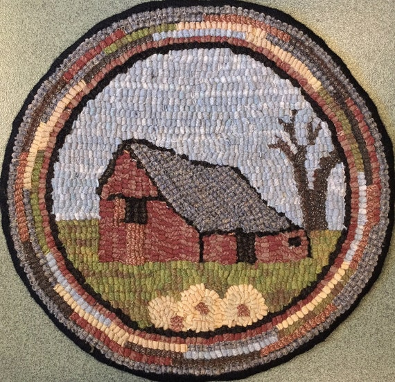 """Rug Hooking Pattern for """"Old Barn #1"""" Chair Pad, on Monks Cloth or Primitive Linen, P134"""