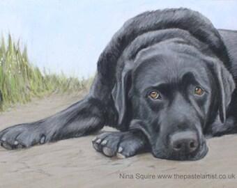 Black Labrador 7 X 5 inch Greetings Card