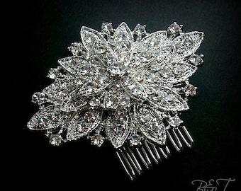 Cristal peigne mariage Vintage strass broche peigne Marquis strass Fleur broche peigne à cheveux mariée