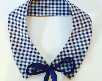 Detachable collar handmade checked retractable collar
