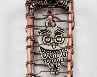 Owl Pendant, Owl Necklace, Owl in a Cage Pendant, Antique Copper Wire Necklace