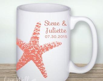 Starfish - Starfish Mug - Custom Coffee Mug - Beach Wedding - Personalized Wedding Gift - Bridal Shower Gift - Coffee - Coffee Cup