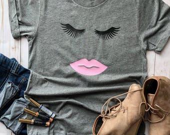 Lipsense shirt/eyelashes and lipstick shirt/lipstick/lipstick shirt/graphic shirt/trendy tees