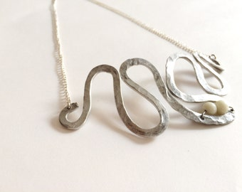 freehand aluminium and glass necklace