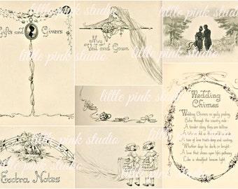 A Vintage Wedding Album,   Printable Collage Sheet (digital download, printable)