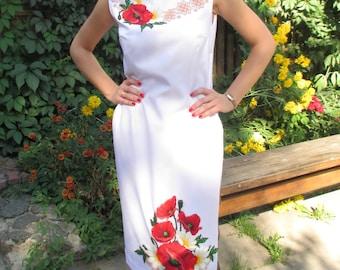 Embroidered white dress Women unique summer dress Dress with poppies Ukrainian dress White midi dress Beadwork dress Stylish dress