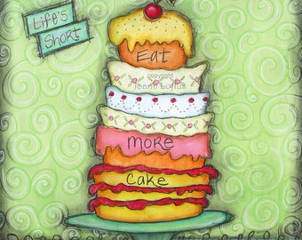 Kitchen Art Print - Whimsical Cupcake Cake - Inspirational Painting
