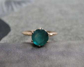 Women's Jewelry / Green Agate Ring / Rose Gold and Sterling Silver Gemstone Ring / Gift for Her / Holiday Gift / Ring / Vintage Agate Ring