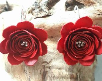 Paper earrings, flower earrings, red earrings, origami earrings, gift for her, graduation gift, Mother's Day