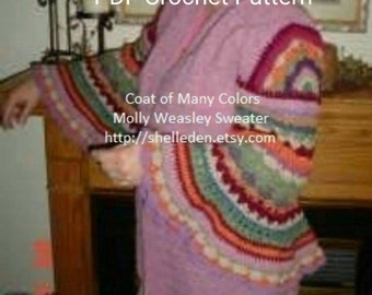 PDF Coat of Many Colors (Molly Weasley Sweater) Crochet Pattern for complete sweater All Crochet  INTERMEDIATE Level