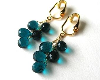 Teal Drops Clip On Gold  Earrings, Teal Quartz Cascade Gold Clip Earrings, Handmade