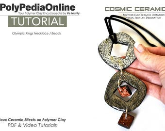 Polymer Clay Tutorial, Ceramic, Polymer Clay Beads, Necklace Tutorial, Earring, Pendant, PDF Tutorial, Jewelry Tutorial, Video Tutorial,Fimo
