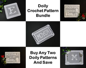 Häkelanleitung - Häkelanleitungen - Deckchen häkeln Muster Bundle - Namen Deckchen häkeln Muster - personalisierte Deckchen Häkelmuster