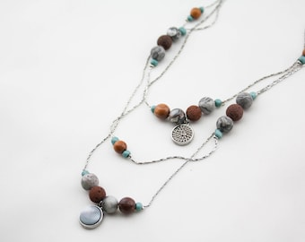 Vintage COLDWATER CREEK Signed Triple Strand Chain Stone Beaded Necklace