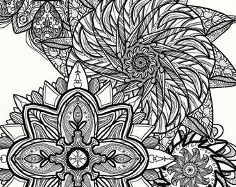 Coloring page, Floral mandala, digital art for adults and kids