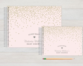 Baby Shower GuestBook, Baby Guestbook, Baby Shower, Custom GuestBook, Personalized GuestBook, Baby Shower Registry Book, pink and grey