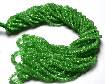 Natural 1 Stand amazing 16 inches full strands Green garnet tsavorite Faceted  roundels beads super top AAA quality  size 2 TO 3 MM approx