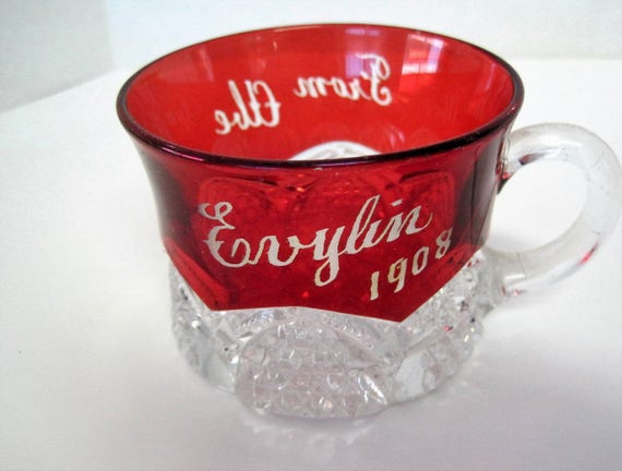 Ruby Flash Glass, Victorian Punch Cup,  Evylin 1908 from Abe,  Souvenir  - Holiday decor