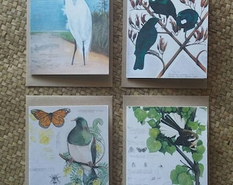 New Zealand Native Bird Art Cards- Pack of 4 with envelopes