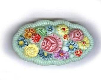 """fleurs sculptés Vintage, CABOCHON en verre ART colorés, sur mint fond vert verre cabochon 1-7/8 """"x 1"""" les bords ondulés"""