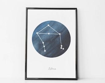 Libra Star Print - Birthday Libra Wall Art / Canvas - Libra Star Poster - Zodiac Libra Art - Libra Gift - Libra Star with Navy Blue Sky