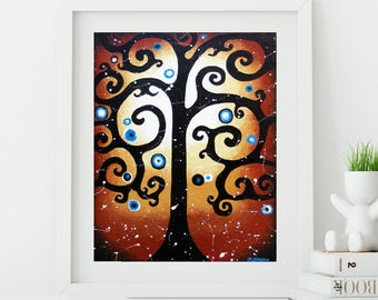 Curly Tree of Life Whimsical Art Print, Swirly Tree Wall Art Red Decor, Rustic Woodland Decor