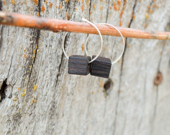 Cube Earrings, wood jewelry, small