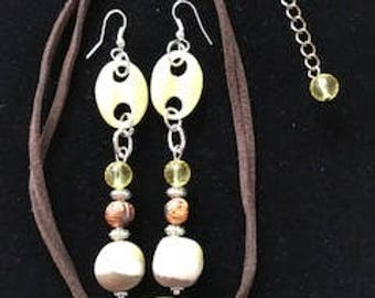 Unique Yellow Bead Earrings and Matching Choker Necklace