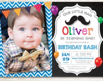 Little Man Birthday Invitation. Baby Boy Moustache Birthday Bash with Photo. First 1st 2nd 3rd 4th any age. Printable digital DIY