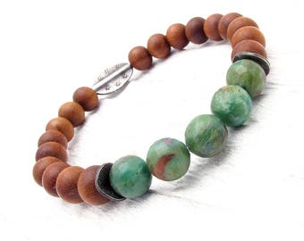 sandalwood bracelet, stretch bracelet, gemstone bracelet, boho bracelet, stacking bracelet, fragrant sandalwood, Christmas gift,