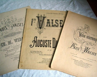"""3 old sheet music """"Waltz"""" for piano, vintage 1900-1950"""