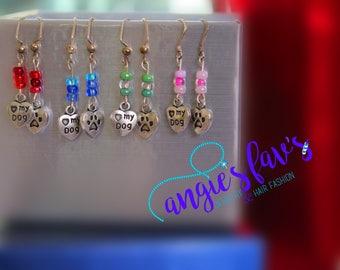 Dangle Earrings, Love/Heart My Dog