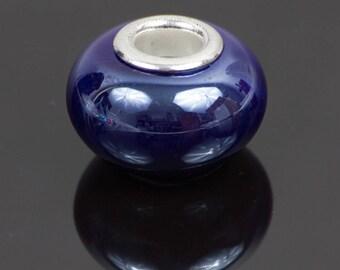 2 Navy Blue European style ceramic beads