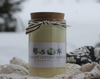 Recycled Candle Jar-Recycled Glass with Cork Lid- 16oz Soy Candle Jar-Eco Friendly Candle-Vermont Candles - Vermont Cottage Candles