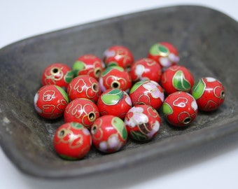 Chinese Cloisonne Beads 10mm Red Cloisonne Bead Enamel Beads Metal Beads (4 beads) CL14